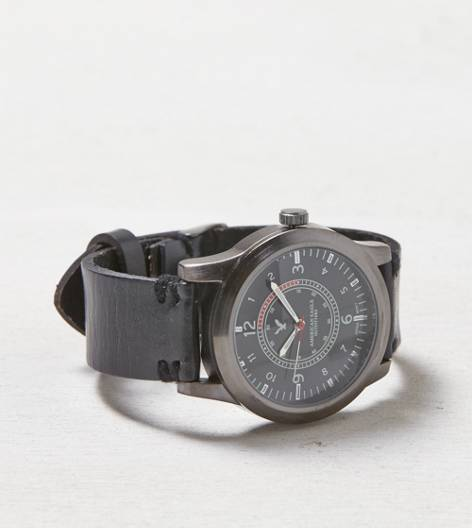 Black AEO Leather Watch