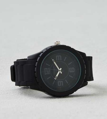 AEO Black Rubber Watch
