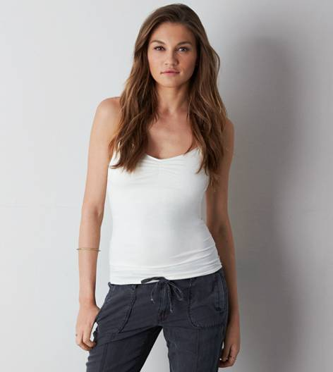 Chalk AEO Shirred Shelf Cami