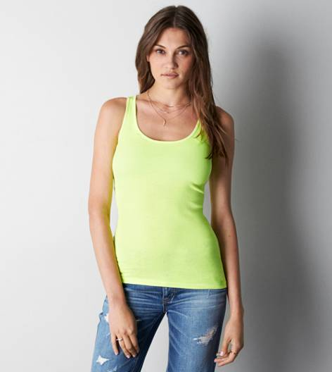 Deep Neon Yellow AEO Boyfriend Tank