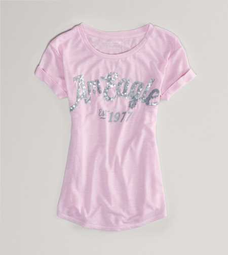 AE Signature Embellished Tee - Take 40% Off
