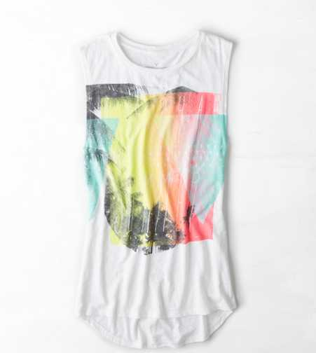 AEO Watercolor Graphic Muscle Tank
