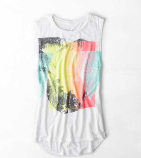 AE Watercolor Graphic Muscle Tank - Buy One Get One 50% Off