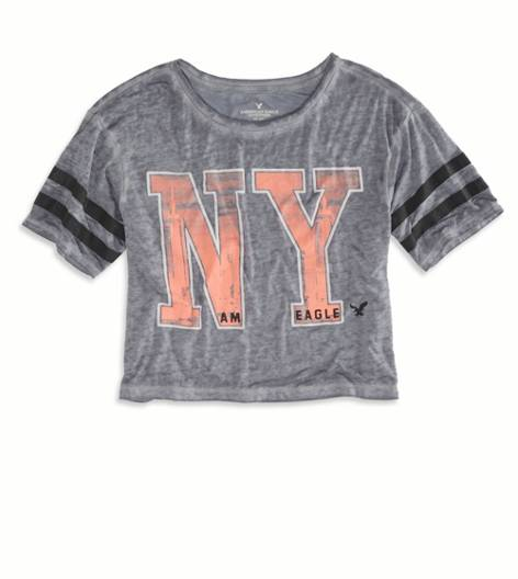 Ebony Grey AE NYC Cropped Varsity T-Shirt