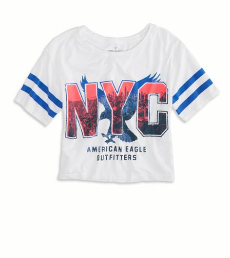 White  AE NYC Cropped Varsity T-Shirt