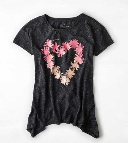 AEO Floral Heart Graphic T-Shirt