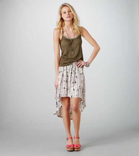 AE Printed Hi-Lo Skirt