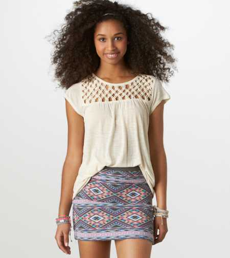 AE Embroidered Ikat Miniskirt