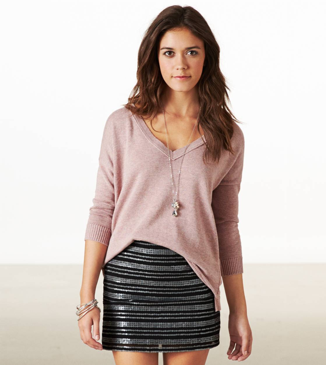 Black AE Sequin Striped Mini Skirt