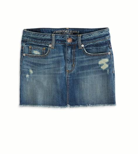 Medium Destroyed AE Denim Mini Skirt