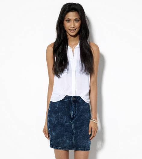 Indigo AE Sky High Acid Wash Denim Skirt