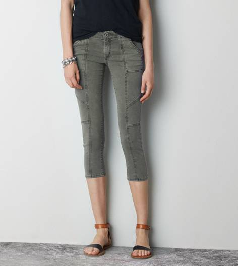 Burnt Olive AE Utility Jegging Crop Pant