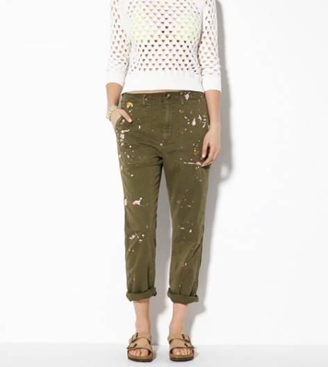Green AE Splattered Boy Crop Pant