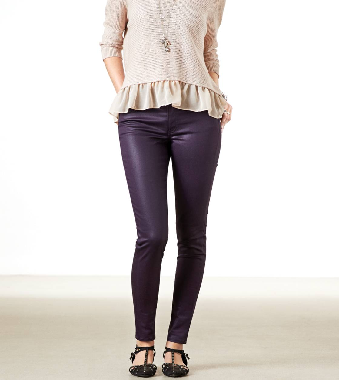 Aubergine Hi-Rise Coated Jegging