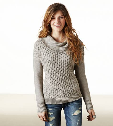 Brown Heather AE Real Soft Cabled Hi-Lo Sweater