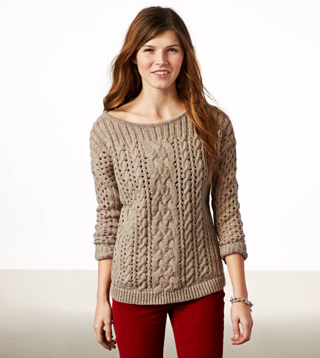 Brown Heather AE Mixed Knit Donegal Sweater