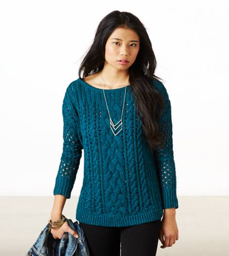 Team Green AE Mixed Knit Donegal Sweater