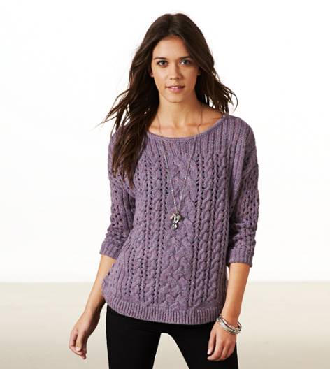 Plum AE Mixed Knit Donegal Sweater