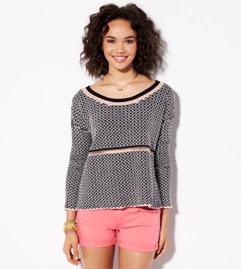 Black AE Reverse Stitch Cropped Sweater
