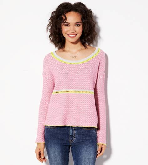 Pink AE Reverse Stitch Cropped Sweater