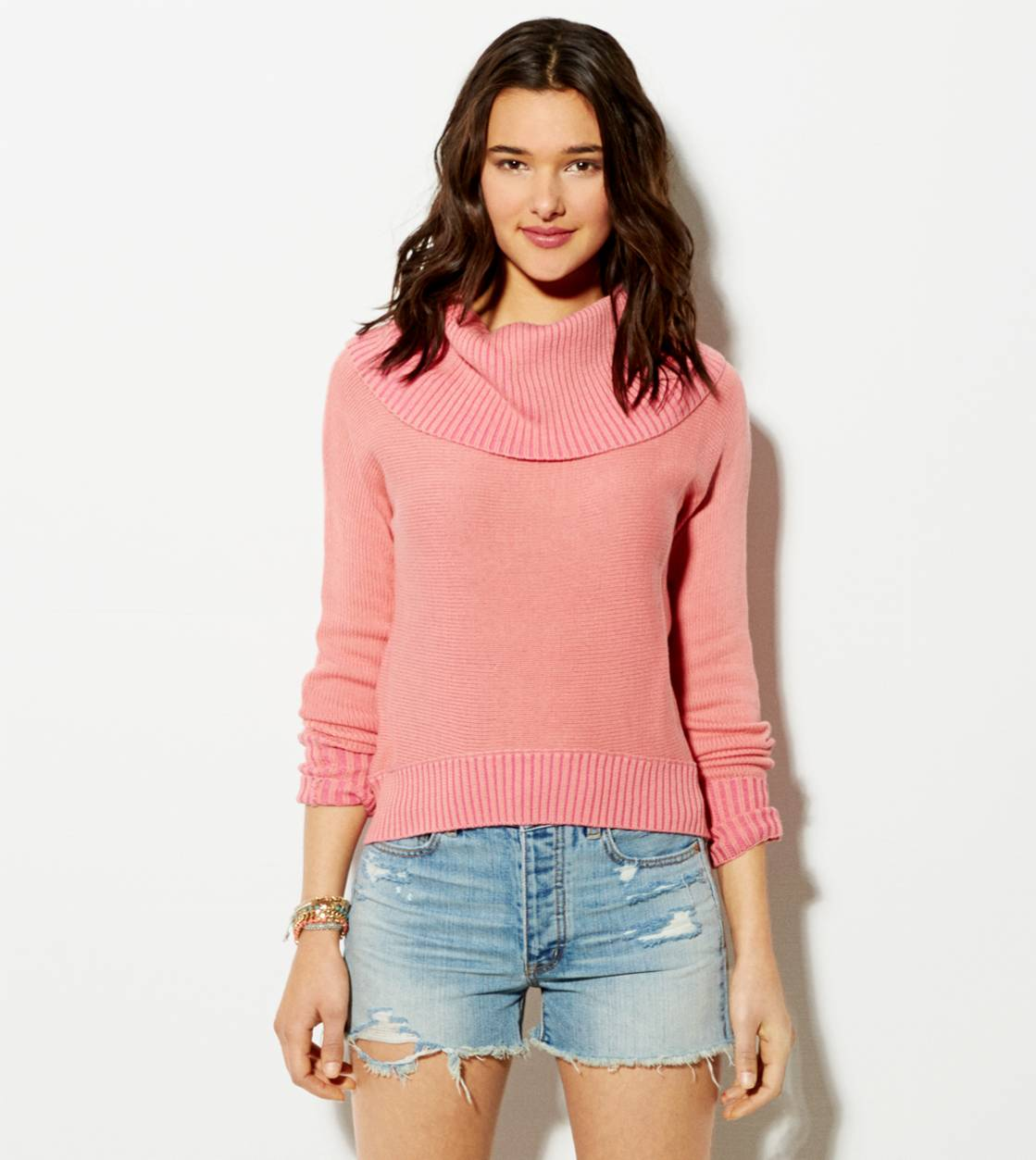 Coral AE Cropped Cowl Sweater