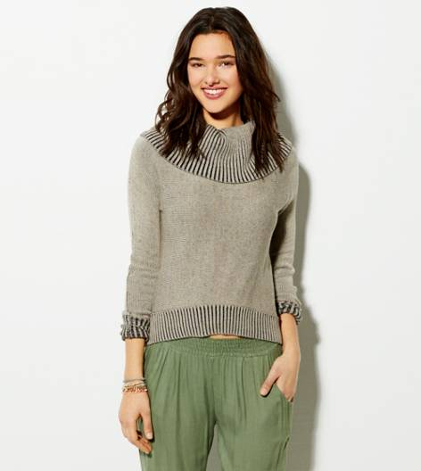 Heather Brown AE Cropped Cowl Sweater