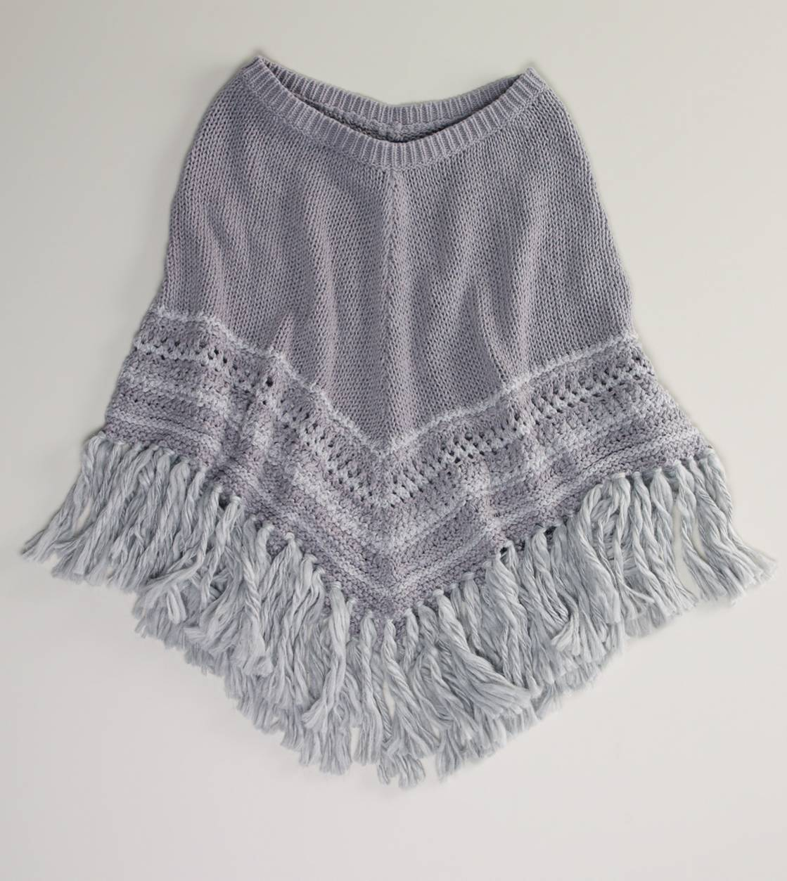 Grey AE Fringed Poncho