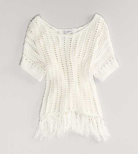 AE Open Stitch Fringe Sweater