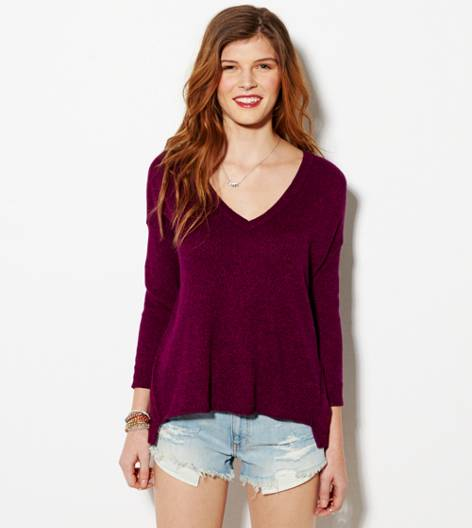 Berry  AE Easy V-Neck Sweater