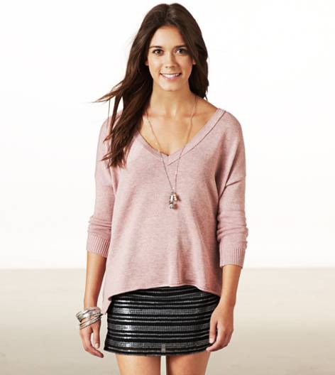Rose  AE Easy V-Neck Sweater
