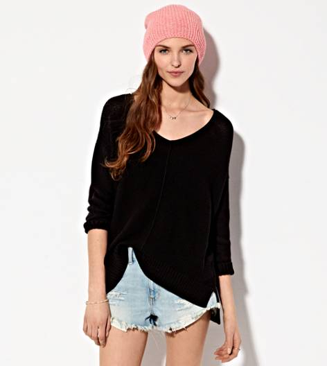 Black AE Drapey V-Neck Sweater