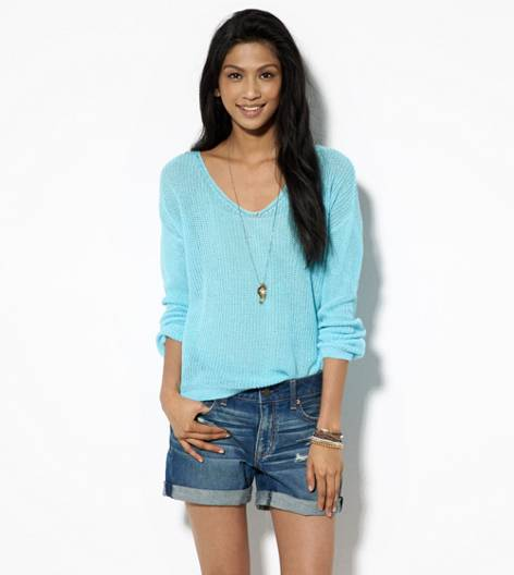 Aqua Key AE Open Knit V-Neck Sweater