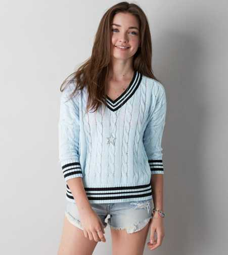 AEO Tipped V-Neck Sweater