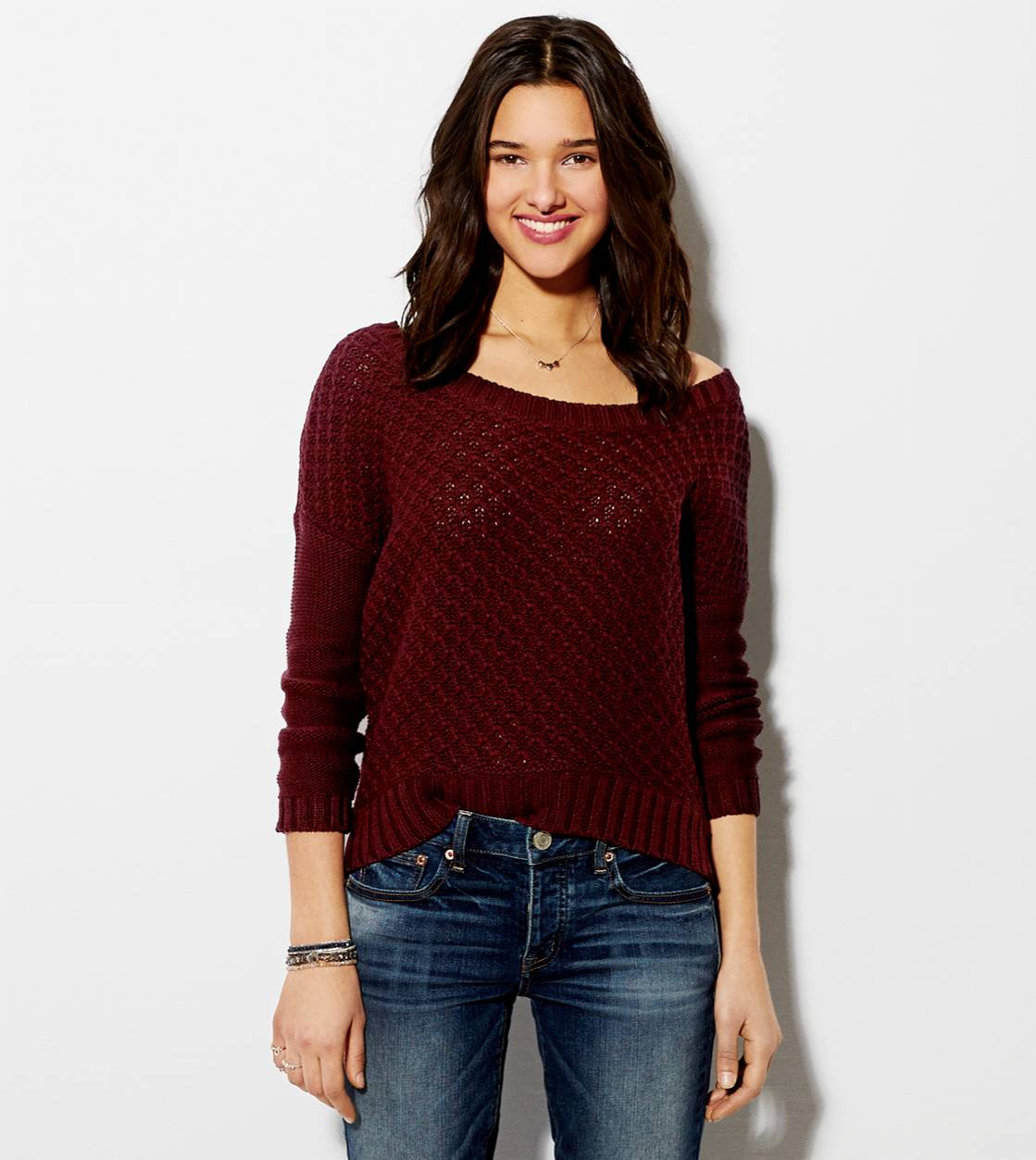 Burgundy AE Chunky Sweater
