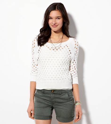 White  AE Cropped Open Stitch Sweater
