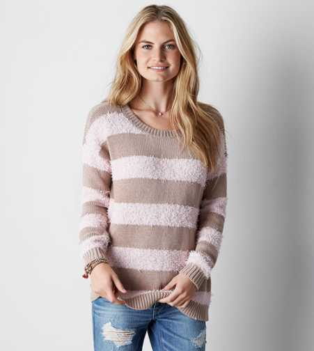 AEO Shag Striped Sweater