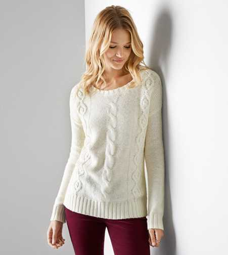 AEO Cable Beaded Sweater