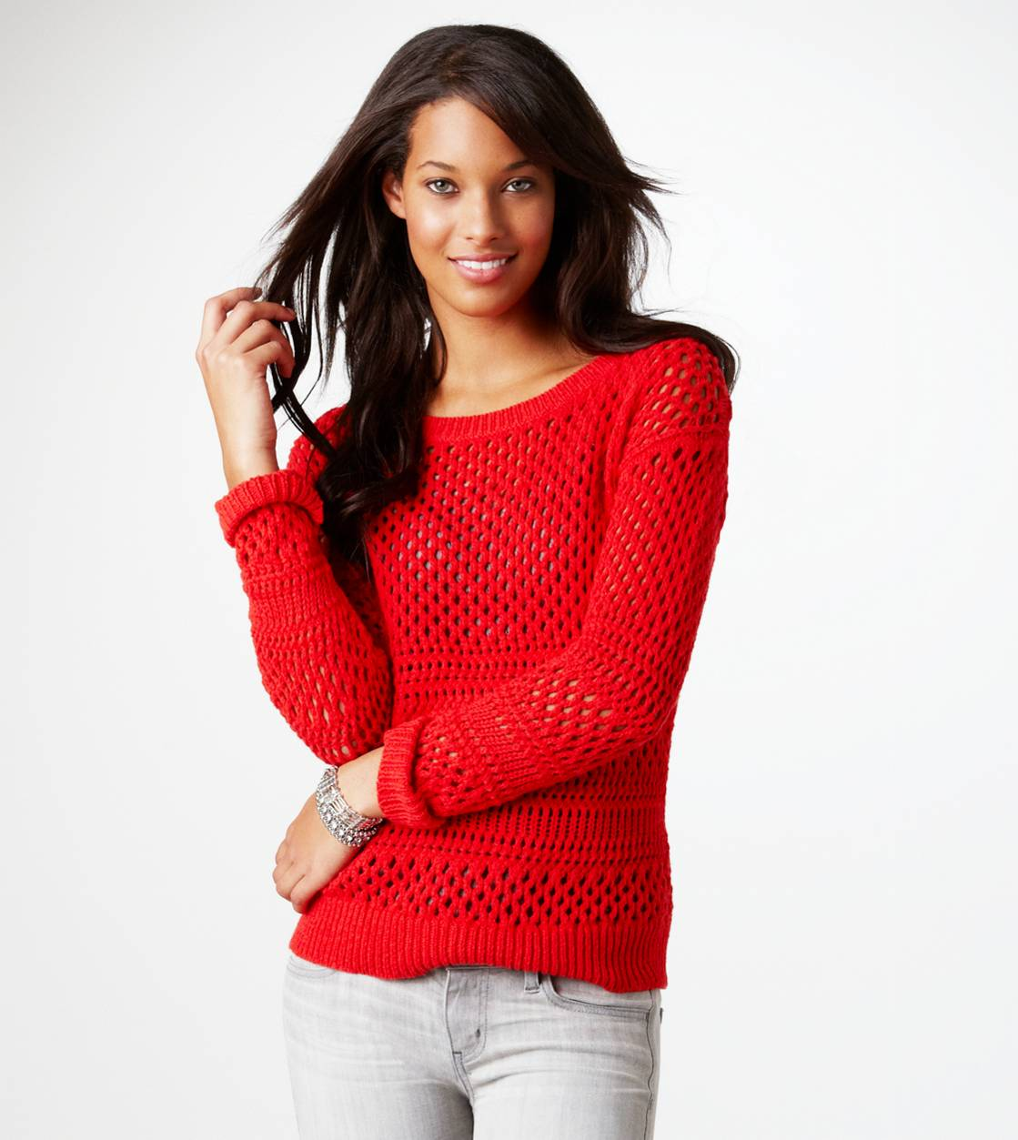 AE Open Knit Shimmer Sweater | American Eagle Outfitters