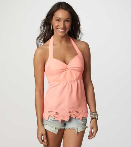 AE Embroidered Halter Top