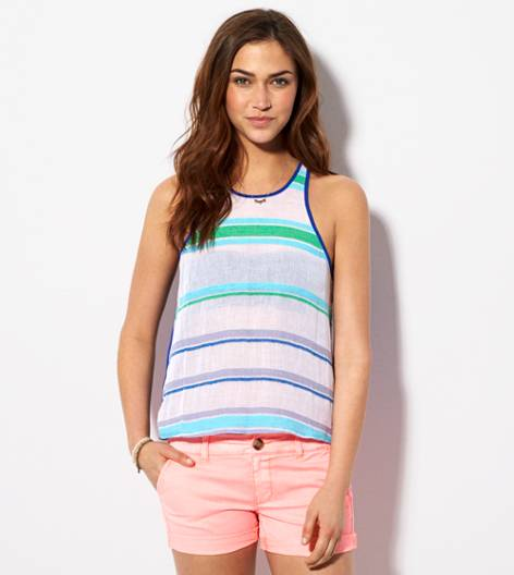 Cobalt Blue AE Striped Chiffon Back Tank