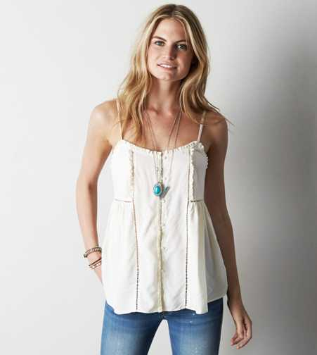 AEO Button Front Ruffle Tank - Buy One Get One 50% Off
