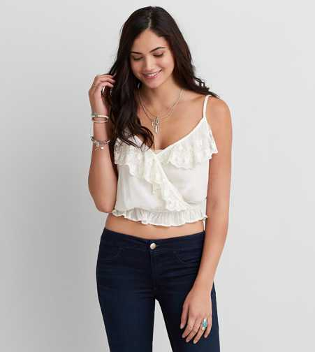 AEO Embroidered Wrap Cami