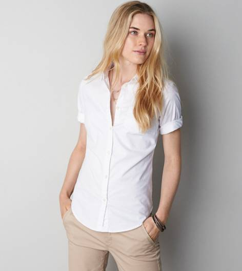 White  AEO Short Sleeve Favorite Shirt