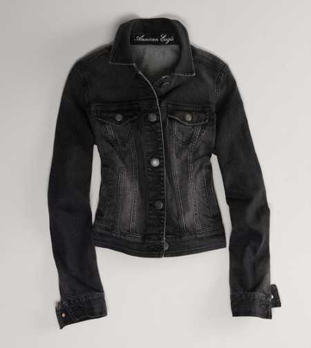 AE Faded Black Denim Jacket