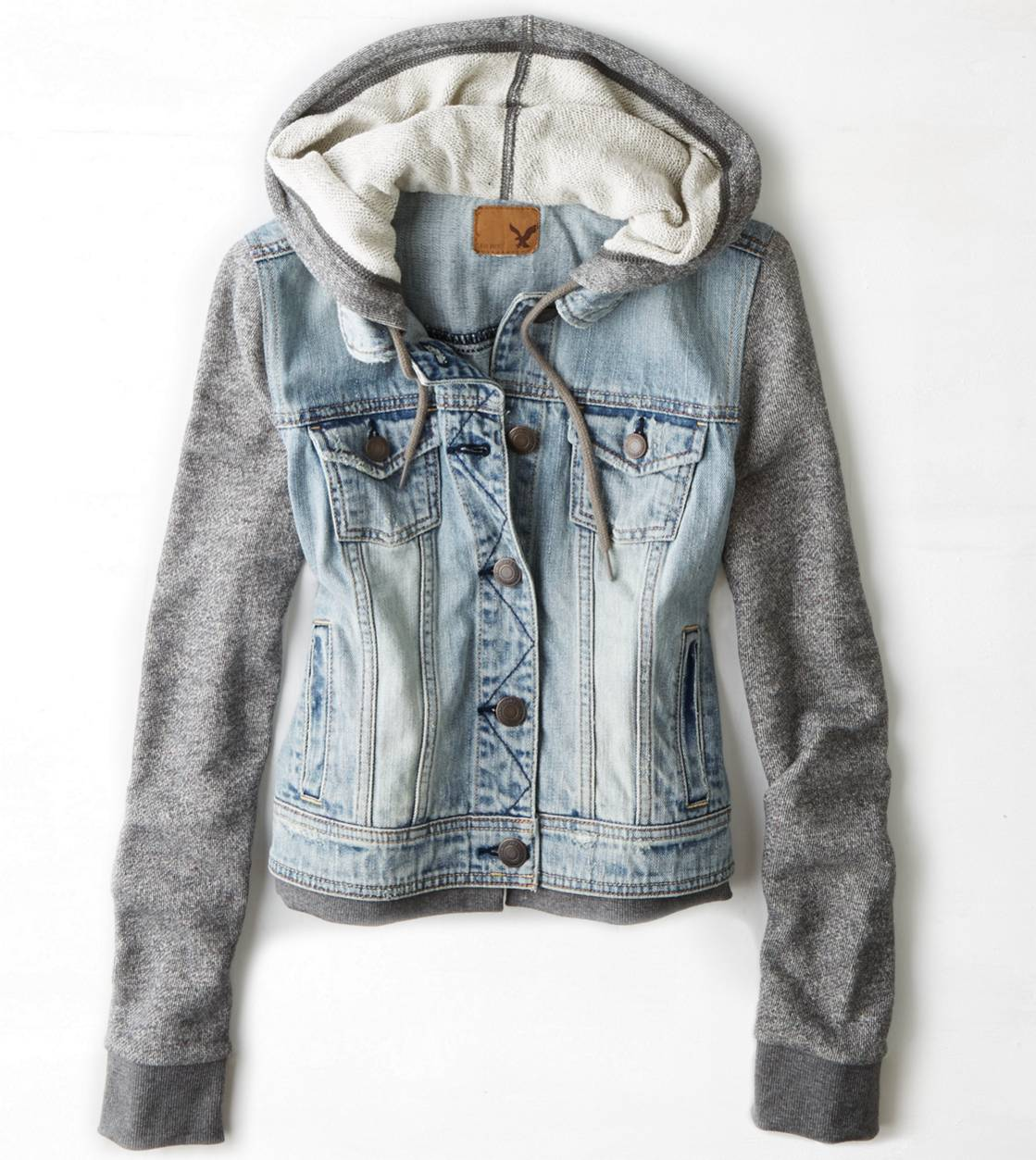 American Eagle Outfitters hooded denim jacket Sweatshirt hooded denim/Jean jacket, size XS. Small rip on one of the sleeves as pictured but still has a lot of life to it.