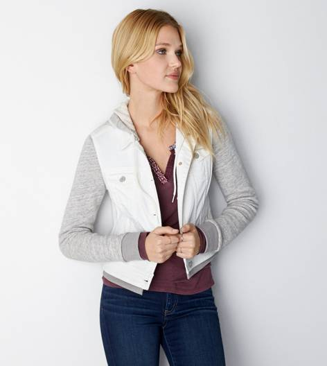 Cream AEO Denim Vested Hoodie