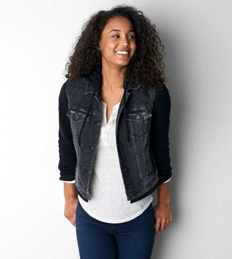 AEO Denim Vested Hoodie - Buy One Get One 50% Off