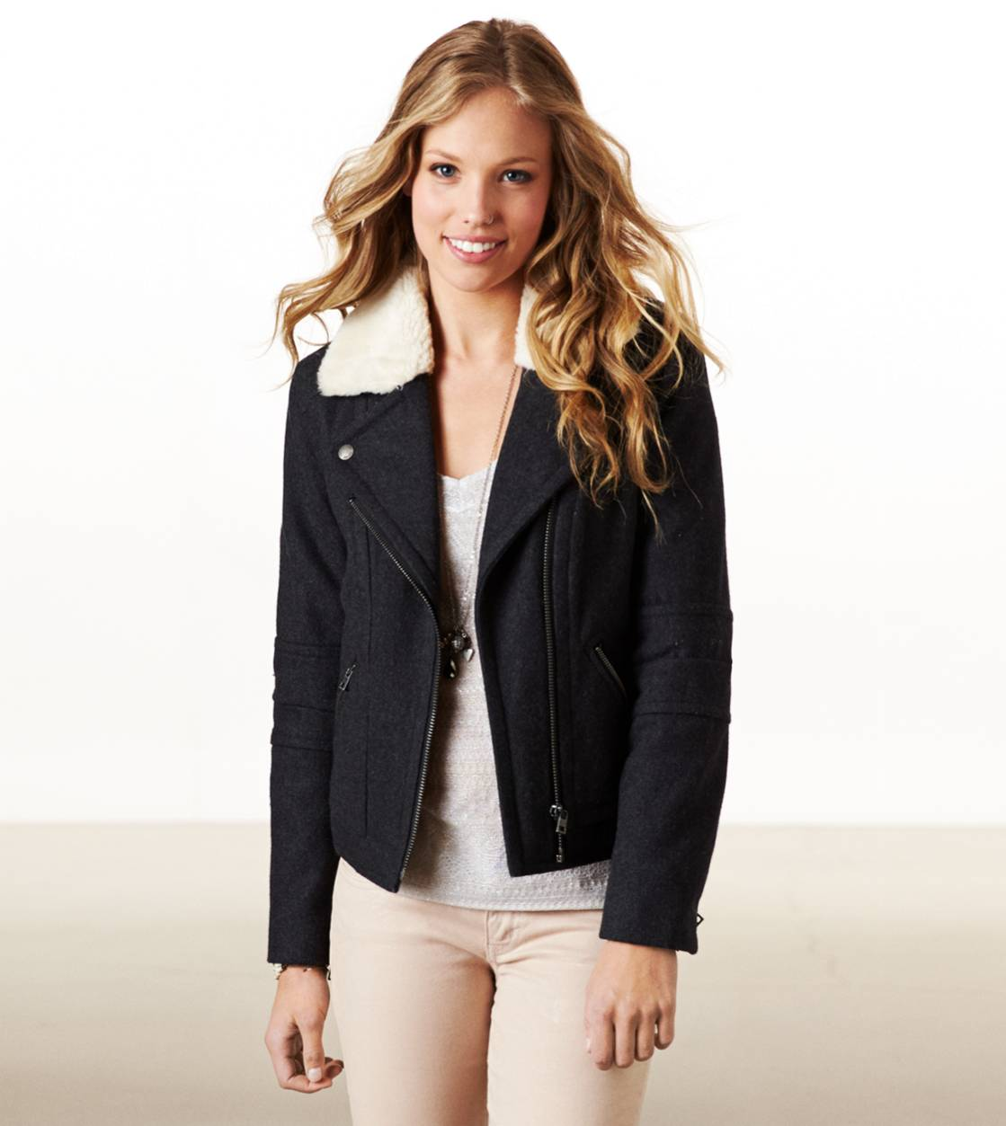 Dark Heather Grey AE Wool Moto Jacket