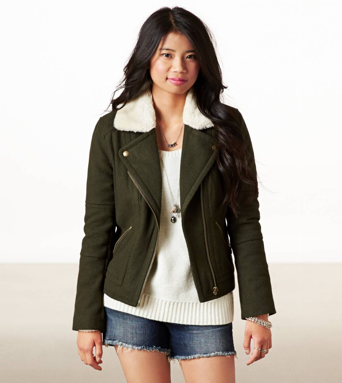 Green AE Wool Moto Jacket