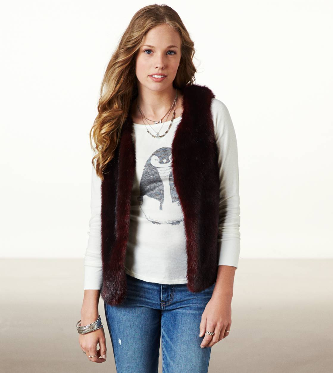 Ox Blood AE Faux Fur Vest